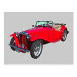 Red MG Convertible Antique Sports Car Postcard