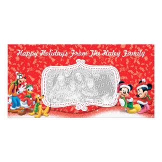 Red Mickey & Friends Holiday Photo Card