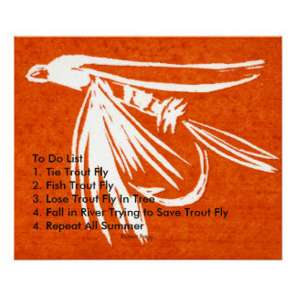 """""""Red Midge - Trout Fly To Do List"""" Poster"""
