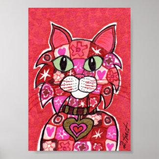 Red Millefiori Mosaic Cat Mini Folk Art Poster