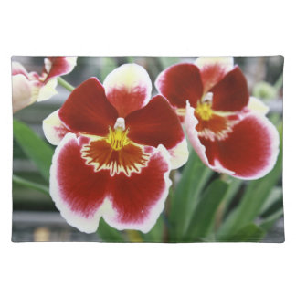 Red Miltonia Pansy Orchid flower Cloth Placemat