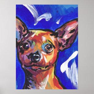 Red Min Pin Miniature Pinshcer Dog Bright Pop Art Poster