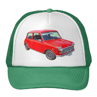 Red Mini Cooper Antique Car Trucker Hat