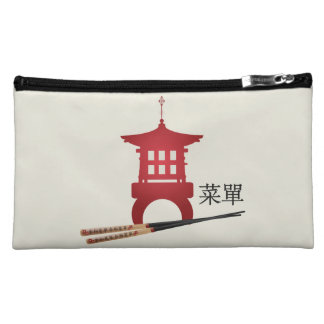 "Red mini pagoda chopsticks ""Menu"" cosmetic bag"