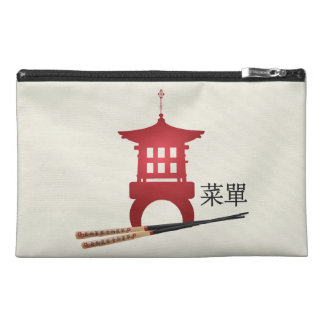 "Red mini pagoda chopsticks ""Menu"" travel bag"