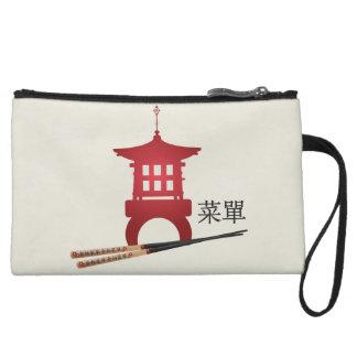 "Red mini pagoda chopsticks ""Menu"" Wristlets"
