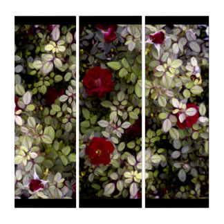 Red Mini Roses Silver Leaves Acrylic Triptych