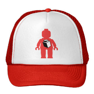 Red Minifig with 1 x 1 Brick Logo Mesh Hat