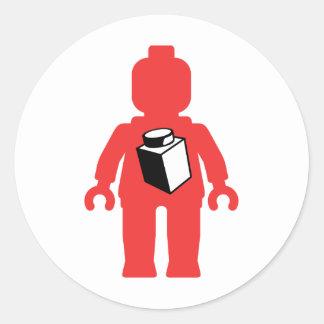 Red Minifig with 1 x 1 Brick Logo Sticker
