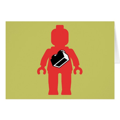Red Minifig with 1 x 2 Brick Logo Greeting Card