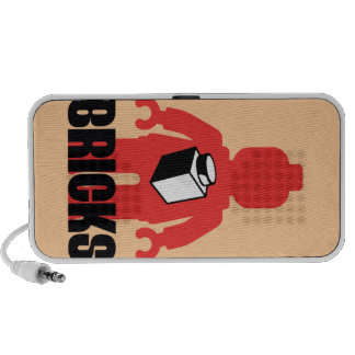 Red Minifig with BRICKS slogan Portable Speaker