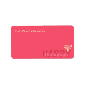 Red Minimalistic Menorah Hanukkah Address Label