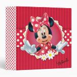 Red Minnie   Flower Frame 3 Ring Binder