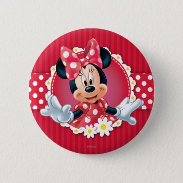 Disney Themed Red Minnie | Flower Frame Pinback Button