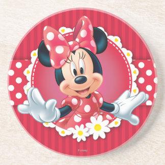 Red Minnie   Flower Frame Sandstone Coaster
