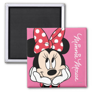 Red Minnie | Head in Hands 2 Inch Square Magnet