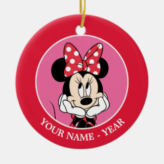 Red Minnie | Head in Hands Add Your Name Ceramic Ornament