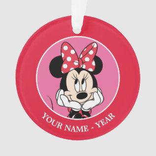 Red Minnie | Head In Hands Add Your Name Ornament at Zazzle