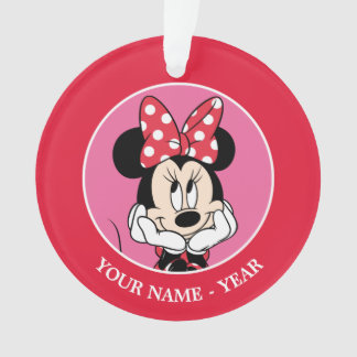 Red Minnie | Head in Hands Add Your Name Ornament