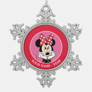 Red Minnie | Head in Hands Add Your Name Snowflake Pewter Christmas Ornament