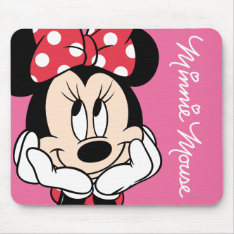 Red Minnie | Head In Hands Mouse Pad at Zazzle