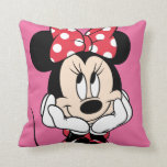 "Red Minnie | Head in Hands Throw Pillow<br><div class=""desc"">Red &amp; White Minnie 1</div>"