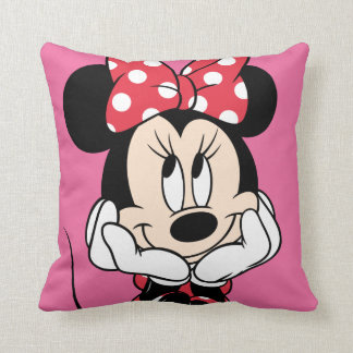 Red Minnie | Head in Hands Throw Pillow