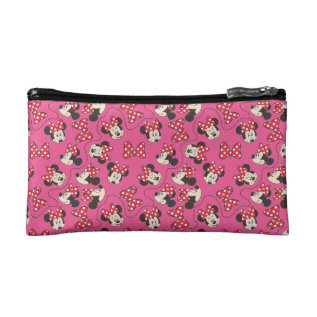 Red Minnie   Pink Pattern Makeup Bag at Zazzle