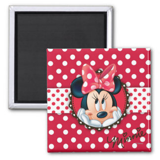 Red Minnie | Polka Dot Frame 2 Inch Square Magnet