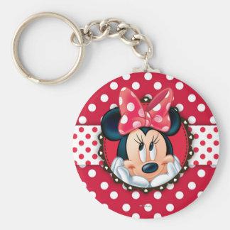 Red Minnie   Polka Dot Frame Basic Round Button Keychain