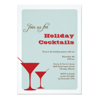 Red mint Christmas holiday cocktail martini retro 5x7 Paper Invitation Card