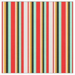 [ Thumbnail: Red, Mint Cream, Orange, Black & Aquamarine Lines Fabric ]