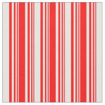 [ Thumbnail: Red & Mint Cream Stripes/Lines Pattern Fabric ]