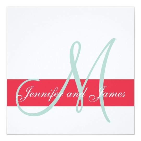 Red, Mint Green Monogram Names Simple Wedding Card