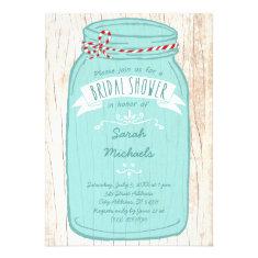 Red & Mint Mason Jar Bridal Shower Announcements
