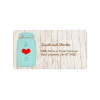 Red & Mint Mason Jar Wedding Address Label