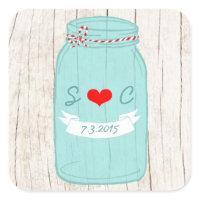 Red & Mint Mason Jar Wedding Favor Sticker