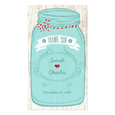 Red & Mint Mason Jar Wedding Favor Tags Business Cards