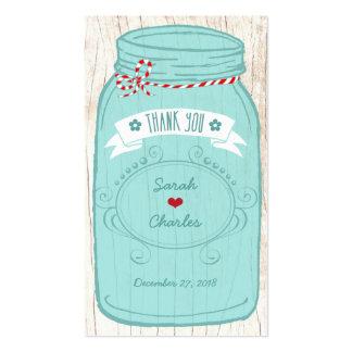 Red & Mint Mason Jar Wedding Favor Tags Business Card