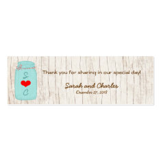 Red & Mint Mason Jar Wedding Favor Tags Business Card Templates