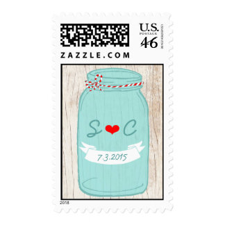 Red Mint Mason Jar Wedding Postage Stamps