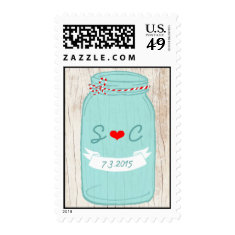 Red & Mint Mason Jar Wedding Postage Stamps