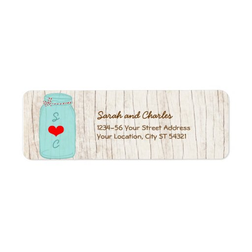 Red & Mint Mason Jar Wedding Return Address Label