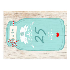 Red & Mint Mason Jar Wedding Table Number Postcards