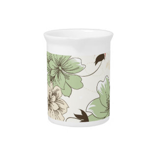Red Mint White Floral Pattern Flower Drink Pitcher
