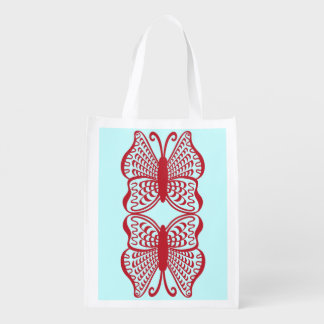 Red Mirrored Butterfly Reusable Grocery Bag