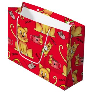 Red Mischievous Meow Cats Large Gift Bag