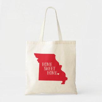 Red Missouri Home Sweet Home State Tote Bag