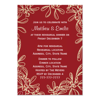 Red Mistletoe Holiday Rehearsal Dinner 4.5x6.25 Paper Invitation Card