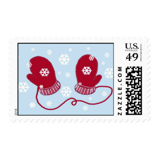 Red Mittens and Snowflakes Postage Stamp